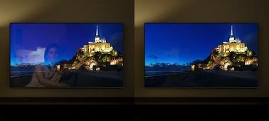 Imagem de uma cidade na colina em ecrãs de televisores diferentes a mostrar a vantagem do X-Anti Reflection.
