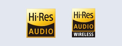 Logótipos de áudio Hi-Res e áudio Hi-Res Wireless