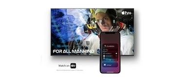Imagem a mostrar ecrã de filme com smartphone