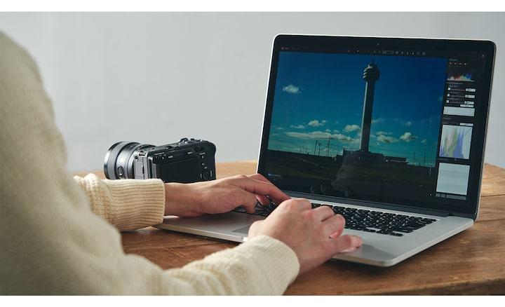 Imagem da edição com o Imaging Edge no PC