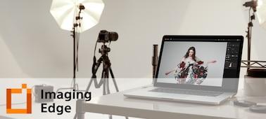 Imagem situacional de um estúdio com o logótipo do Imaging Edge Desktop