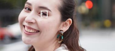 Uma ilustração a mostrar quando o AF de olhos está ativado