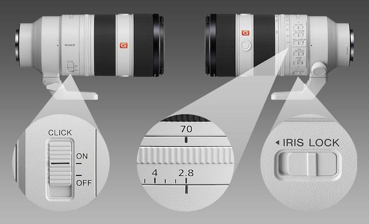 Imagens combinadas do produto a mostrar as posições do clique de íris, anel de focagem e bloqueio de íris