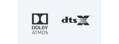 Logótipos do Dolby Atmos/DTS:X
