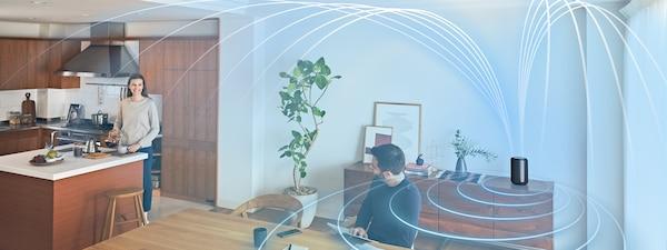 Imagem a ilustrar o som envolvente num espaço da casa