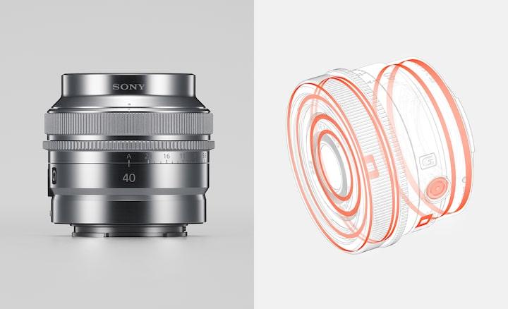 Imagem de produto combinada a ilustrar a construção resistente à humidade e à poeira, bem como o acabamento exterior da lente