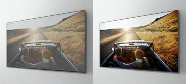 Imagens aéreas de um automóvel numa estrada em ecrãs de televisores diferentes a mostrar a vantagem do painel X-Wide Angle.