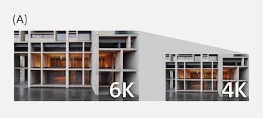 Uma ilustração a explicar que a ZV-1 utiliza dados equivalentes a 6K para produzir vídeo 4K